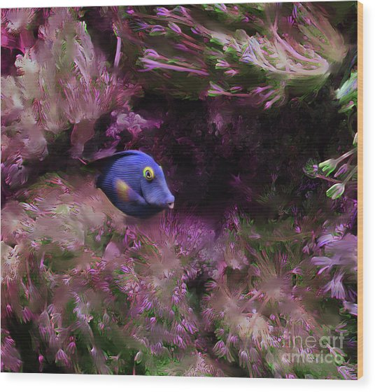 Purple Fish In Pink Grass Wood Print
