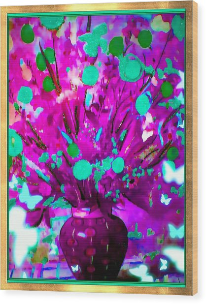 Purple Floral Wood Print by HollyWood Creation By linda zanini