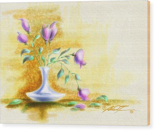 Purple Flowers In Vase Wood Print
