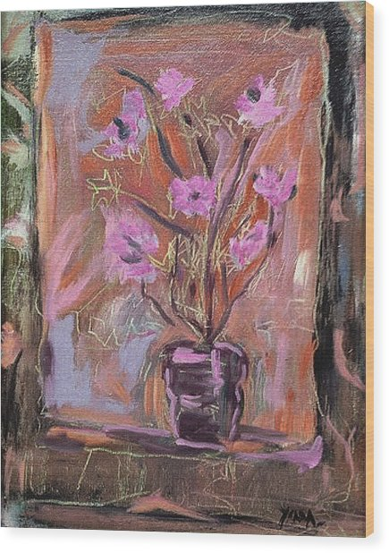 Purple Flowers In Vase Wood Print
