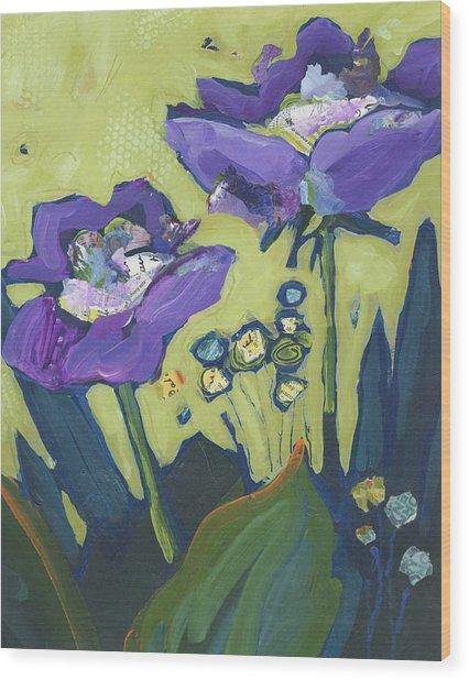 Purple Flowers Wood Print