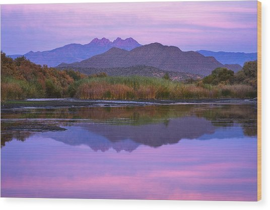 Purple Four Peaks Reflections Wood Print
