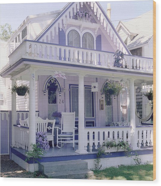 Purple Gingerbread House Wood Print by Rose Martin