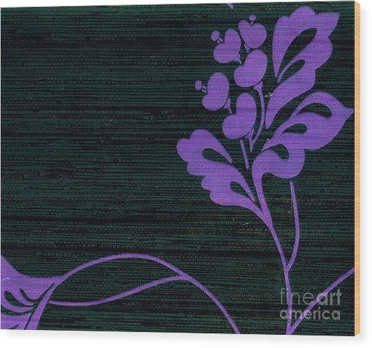 Purple Glamour On Black Weave Wood Print