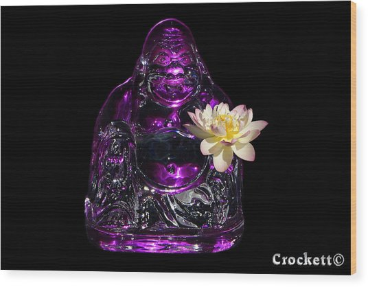 Purple Glass Buddah With Yellow Lotus Flower Wood Print