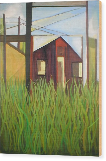 Purple House In A Green Field Wood Print