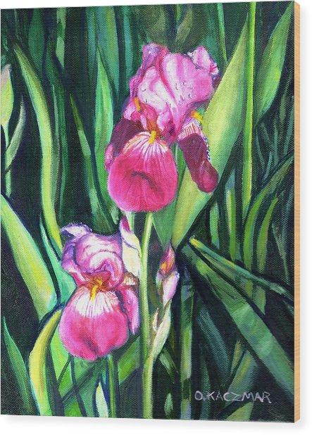 Purple Iris Wood Print by Olga Kaczmar