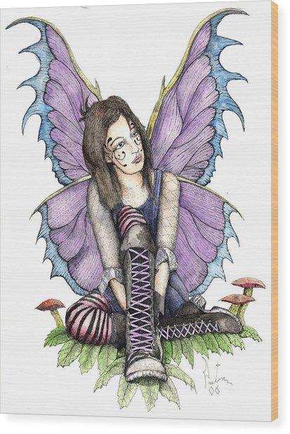 Purple Laces Wood Print by Preston Shupp
