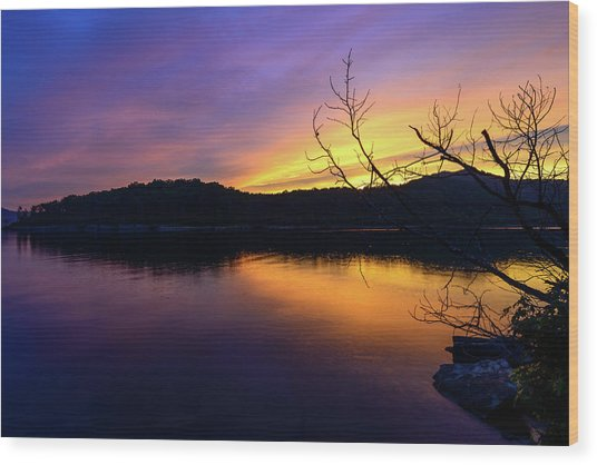 Purple Lake Wood Print