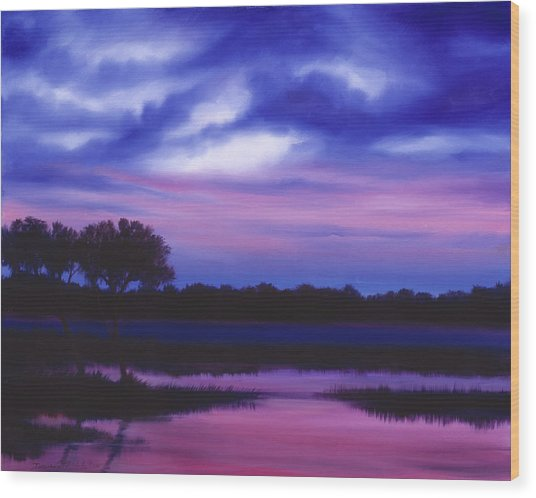 Purple Landscape Or Jean's Clearing Wood Print