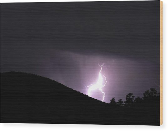 Purple Lightning Wood Print by Matthew Fredricey