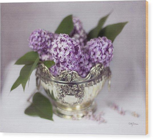 Purple Lilacs In Silver Bowl Wood Print