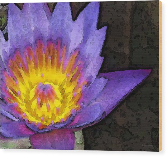 Purple Lotus Flower - Zen Art Painting Wood Print