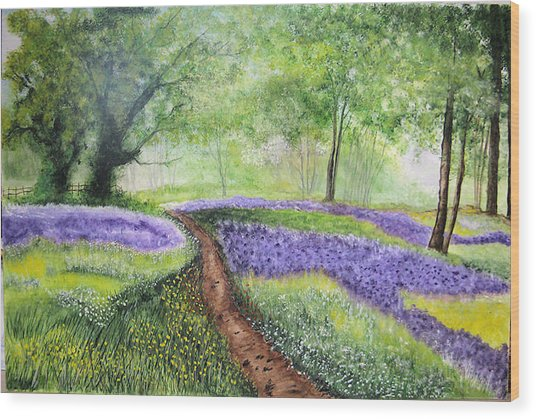 Purple Meadow Wood Print