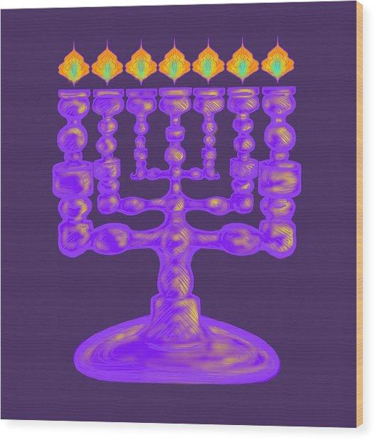 Purple Menorah Flamed Wood Print