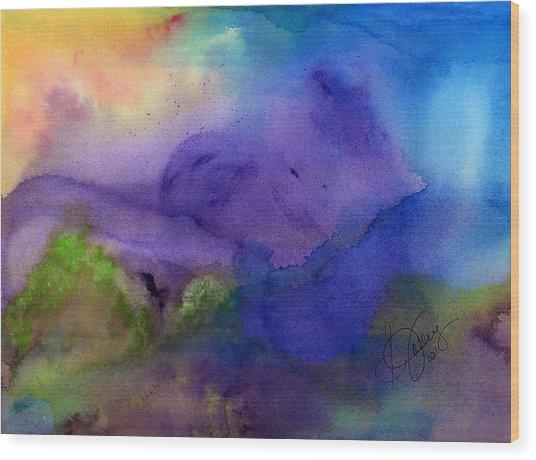 Purple Moon Wood Print by Stephanie  Jolley
