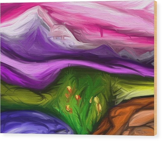 Purple Mountain Wood Print