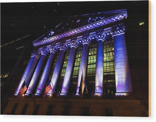 Purple New York Stock Exchange At Night - Impressions Of Manhattan Wood Print
