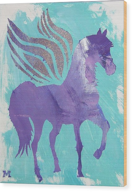 Purple Pegasus Wood Print