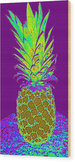 Purple Pineapple Wood Print