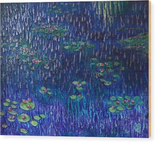 Purple Rain On Water Lilies Wood Print
