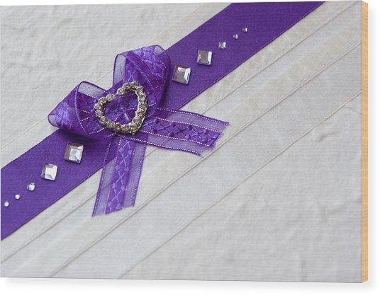 Purple Ribbon Heart Wood Print
