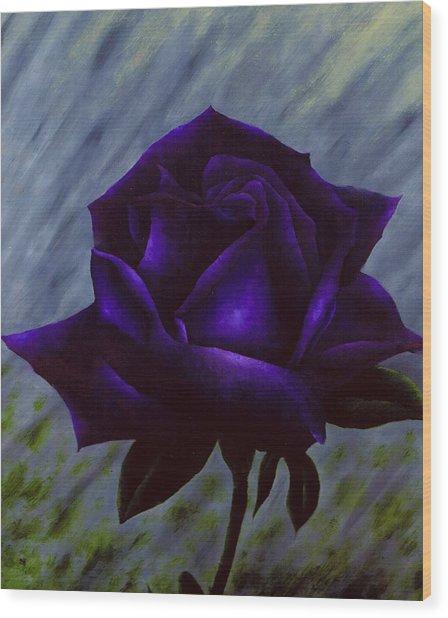 Purple Rose Wood Print by Brandon Sharp