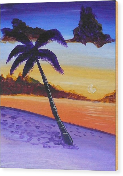 Purple Sand Palm Tree Wood Print