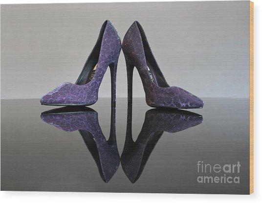 Purple Stiletto Shoes Wood Print