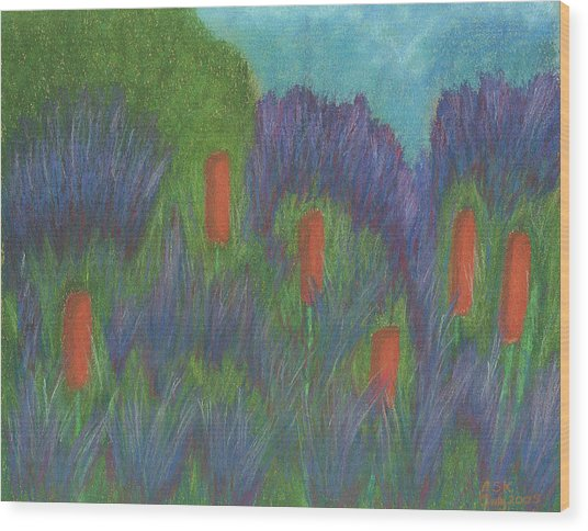 Purple Strife And Cattails Wood Print
