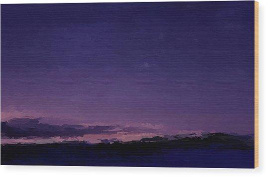Purple Sunset Over Beach  Wood Print