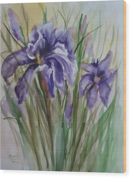 Purple Times 3 Wood Print