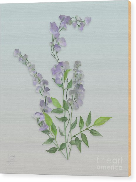 Purple Tiny Flowers Wood Print