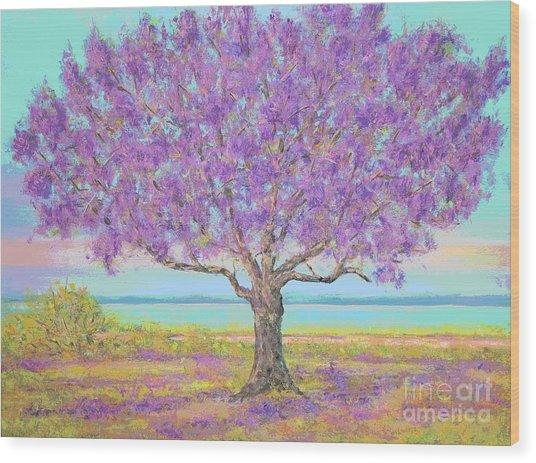Purple Tree Wood Print