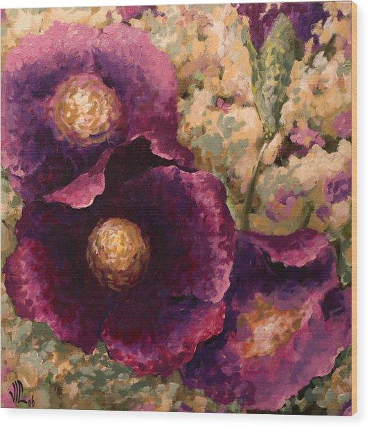 Purple Trio-flowers Wood Print