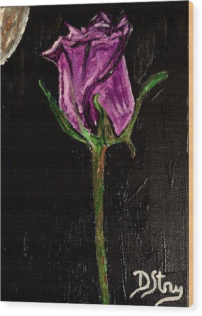 Purple Under The Moon's Glow Wood Print