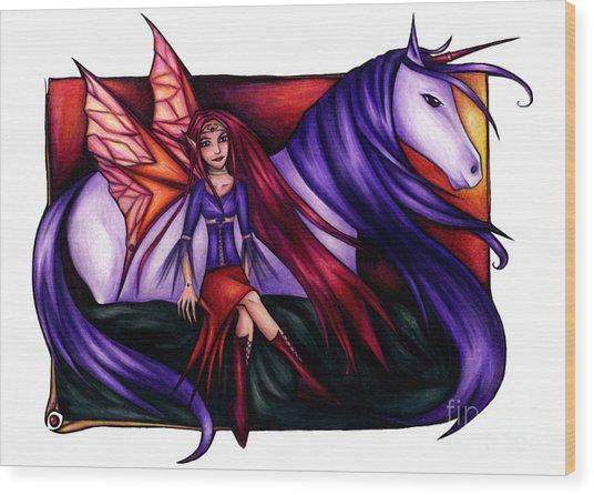 Purple Unicorn With Fairy Friend Wood Print