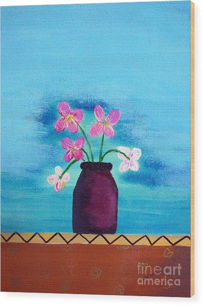 Purple Vase Wood Print