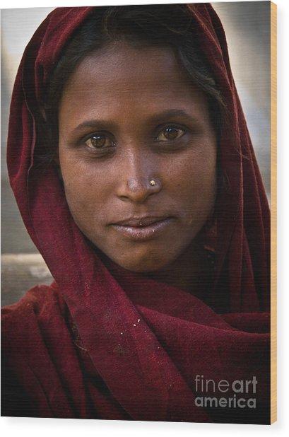 pushkar girl I Wood Print