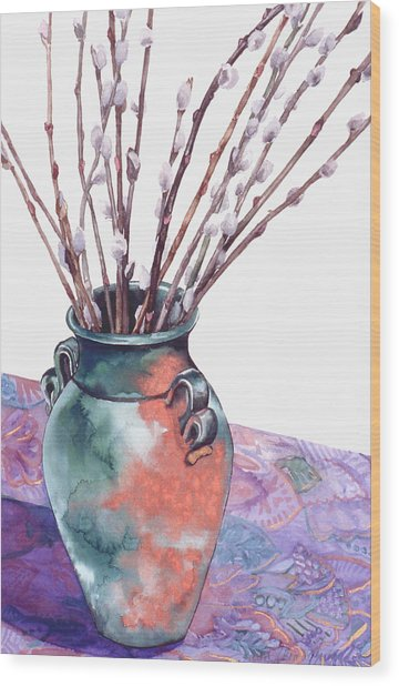 Pussy Willows Bouquet Wood Print by Caron Sloan Zuger