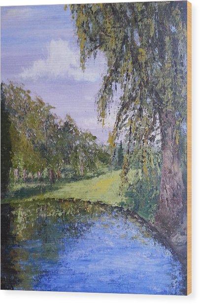 Putting Green Pond Wood Print