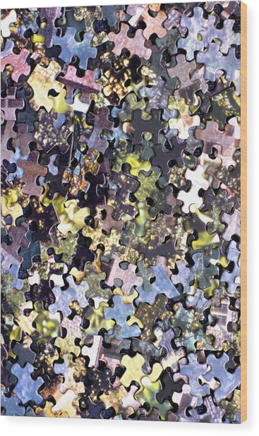 Puzzle Piece Abstract Wood Print by Steve Ohlsen