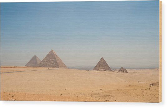 Pyramids Of Giza And The Desert Wood Print