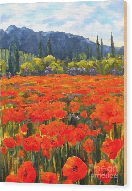 Pyrenees Poppies Wood Print