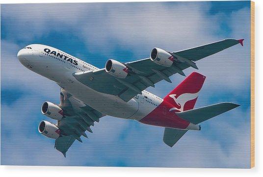 Qantas A380 Wood Print