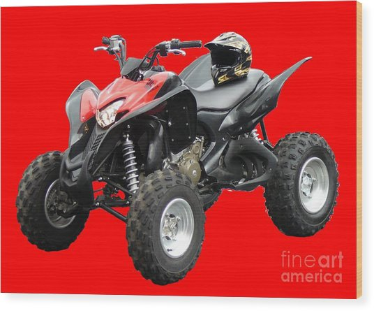 Quad Bike And Helmet Wood Print