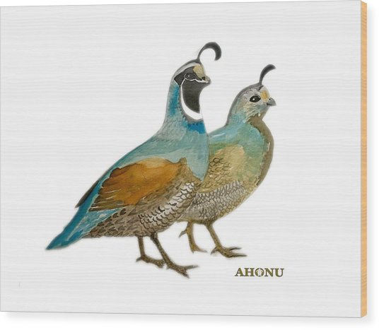 Quail Pair Wood Print