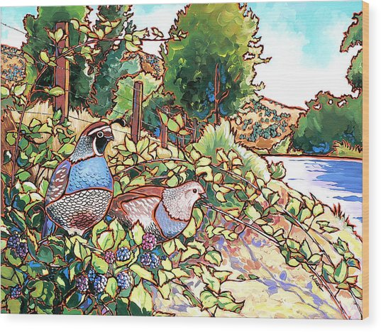 Quails And Blackberries Wood Print