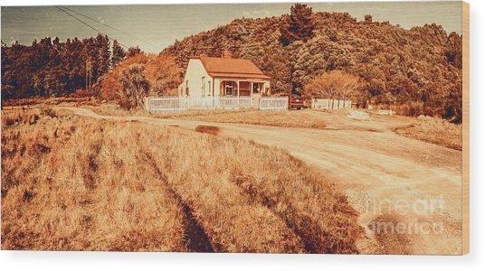 Quaint Country Cottage Wood Print