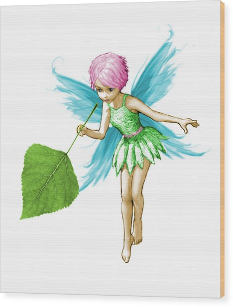 Quaking Aspen Tree Fairy Holding Leaf Wood Print
